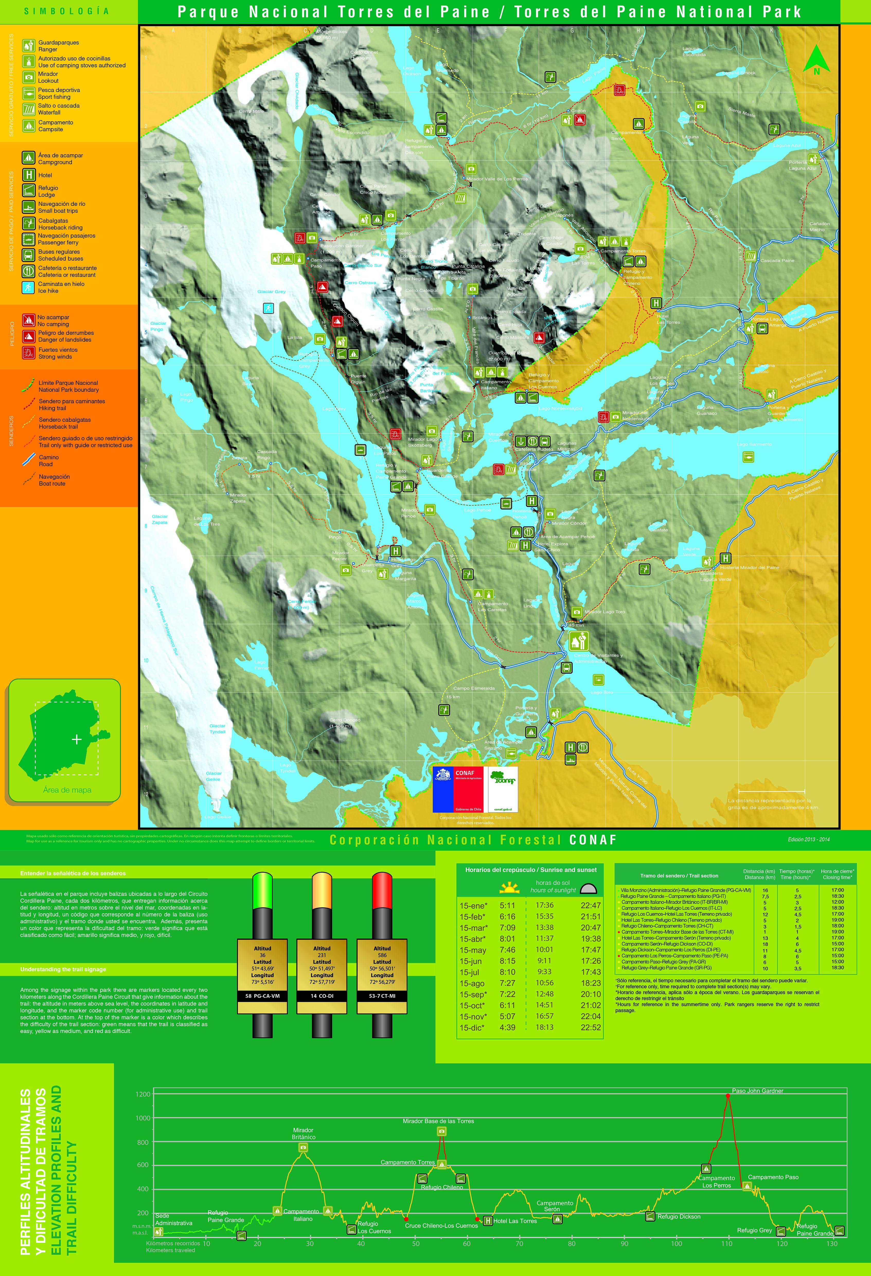 Circuito W Mapa : Parque nacional torres del paine la w andeshandbook
