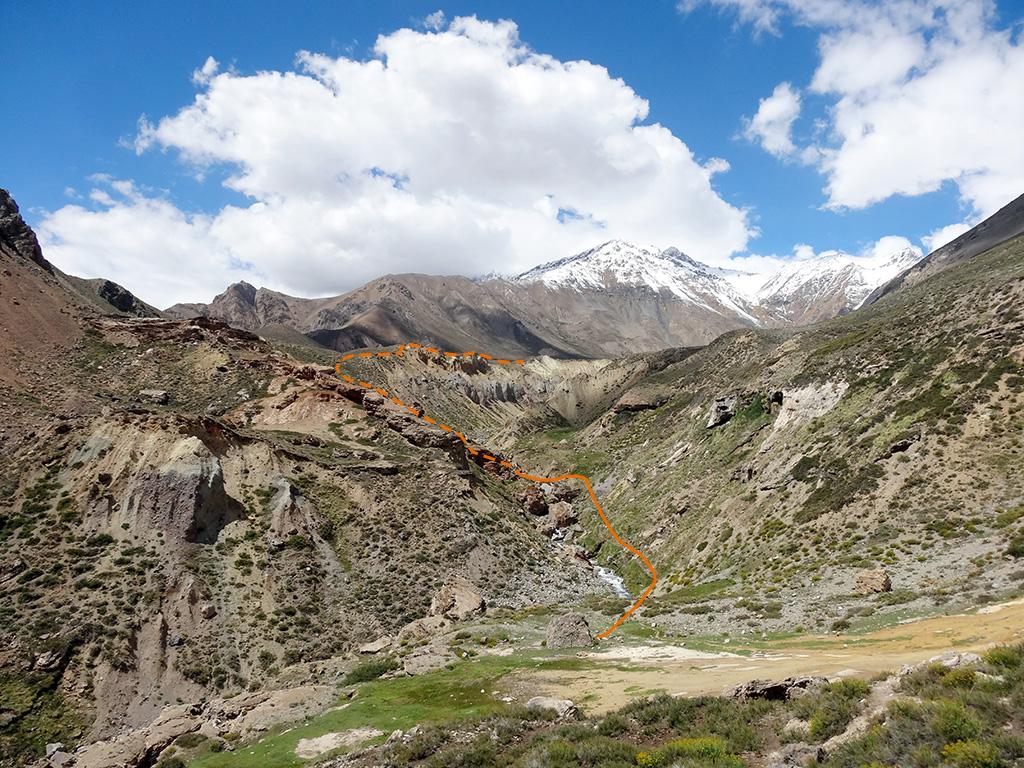 Baños Azules Tupungato:Cajón del Río Colorado-Río Azufre – Vegas del Barco – Andeshandbook