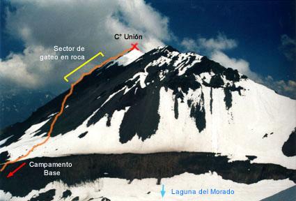 Cerro Unión, ruta cara norte.