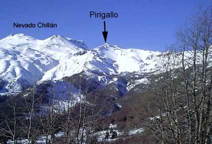 Cerro Pirigallo y Volcán Chillán Nuevo y Viejo
