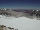 Vista atrás al crater y quebrada de Barancas Blancas