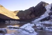 Laguna y glaciar en otoño