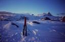Cerro Agudo y sus alrededores, desde el campamento bajo el Paso Cristal, en el glaciar Leones. Julio 2007