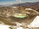 Vista desde la cumbre a la laguna y cráteres