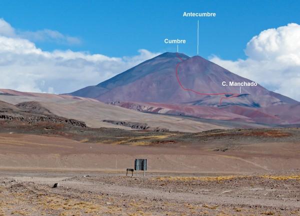 Detalle y ruta desde el noroeste al Volcán los Patos