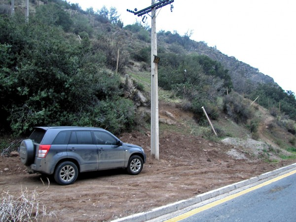 Estacionamiento e inicio de la ruta