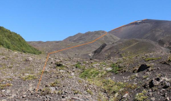 Ladera de roca volcánica