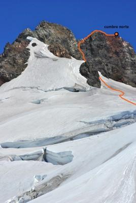 Detalle de ruta a cumbre norte