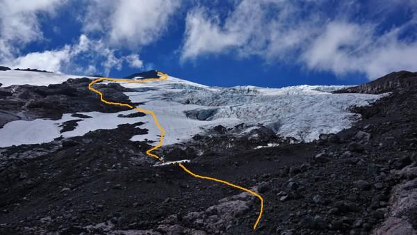 Entrando al glaciar