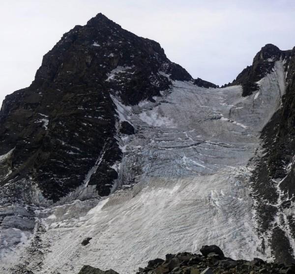 Vista grietas glaciar