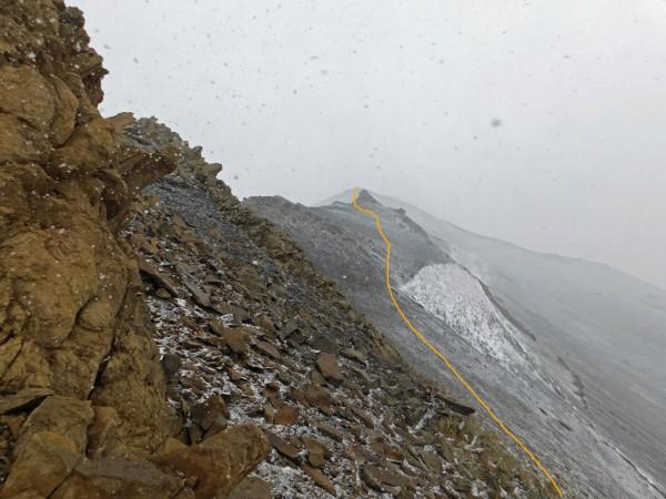 Vista desde el paso hacia la cumbre