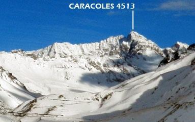Caracoles visto desde valle del Río Cuevas (Mendoza)