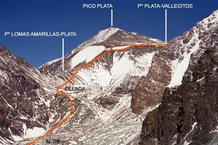 Visión parcial de la ruta de ascenso
