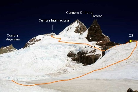Vista de las 3 cumbres desde el lomo norte del Tronador.