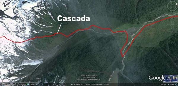 Imagen satelital de la bifurcación del valle.