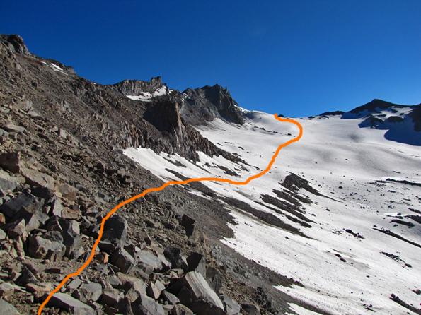 Vista desde el portezuelo hacia el glaciar