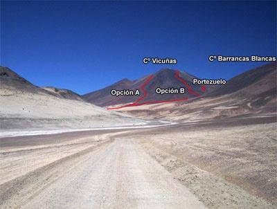 Cerro Vicuña, camino a la entrada.