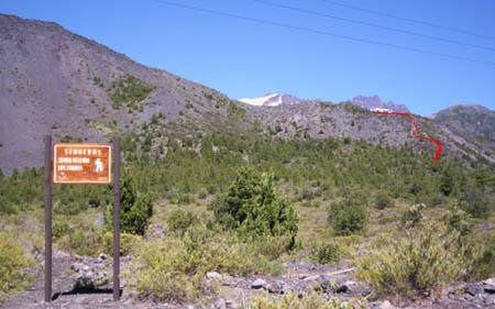 Inicio sendero Sierra Velluda