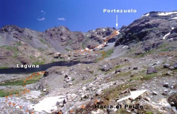 Vista de ruta desde portezuelo a laguna
