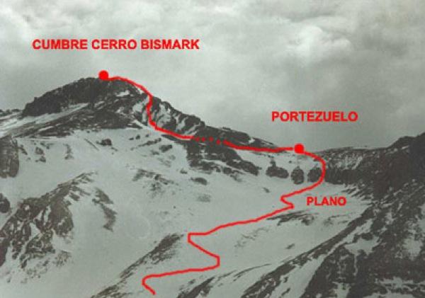 Ruta de ascenso parte superior cerro Bismark.