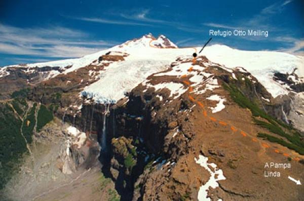 Tronador y glaciar Castaño Overo