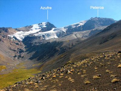 Volcán Peteroa y Volcán Azufre