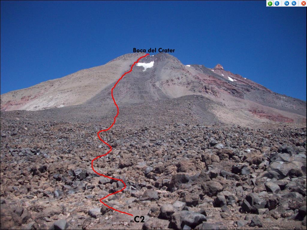 C2 a boca del cráter